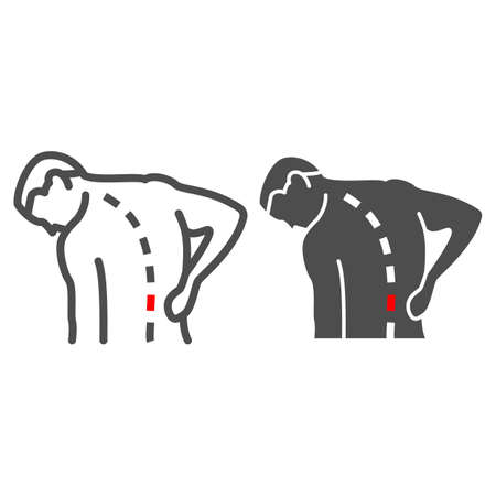 Lower back hurts line and solid icon, body pain concept, spinal pain vector sign on white background, outline style icon for mobile concept and web design. Vector graphics. 矢量图像