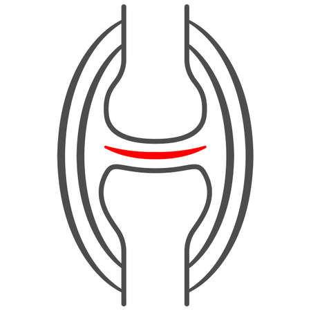 Joint pain thin line icon, body pain concept, joint ache vector sign on white background, outline style icon for mobile concept and web design. Vector graphics. 矢量图像