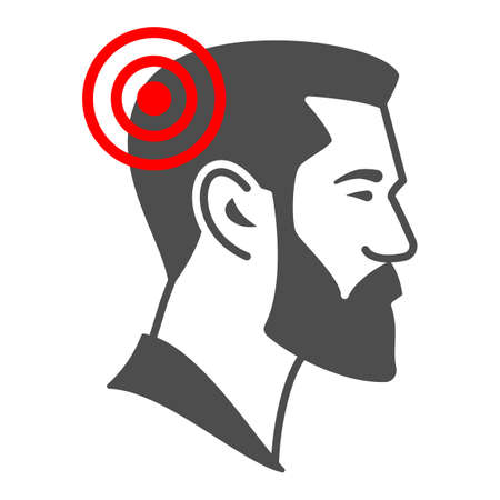 Man has headache solid icon, body pain concept, person has migraine vector sign on white background, glyph style icon for mobile concept and web design. Vector graphics.