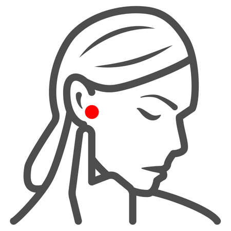 Woman ear hurts line icon, body pain concept, person has pain in the ears vector sign on white background, outline style icon for mobile concept and web design. Vector graphics. 矢量图像
