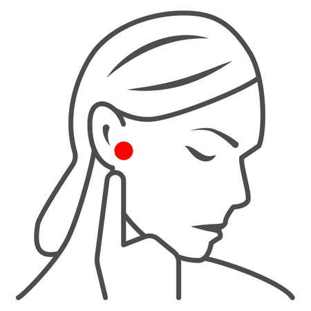 Woman ear hurts thin line icon, body pain concept, person has pain in the ears vector sign on white background, outline style icon for mobile concept and web design. Vector graphics. 矢量图像