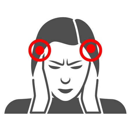 Woman temples hurt solid icon, body pain concept, person has pain in the temples vector sign on white background, glyph style icon for mobile concept and web design. Vector graphics. 矢量图像