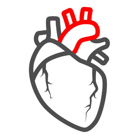 Heart valve problem line icon, body pain concept, heart valves disease vector sign on white background, outline style icon for mobile concept and web design. Vector graphics. 矢量图像
