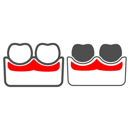 Gum is inflamed line and solid icon, body pain concept, dental problems parodontosis vector sign on white background, outline style icon for mobile concept and web design. Vector graphics. 矢量图像