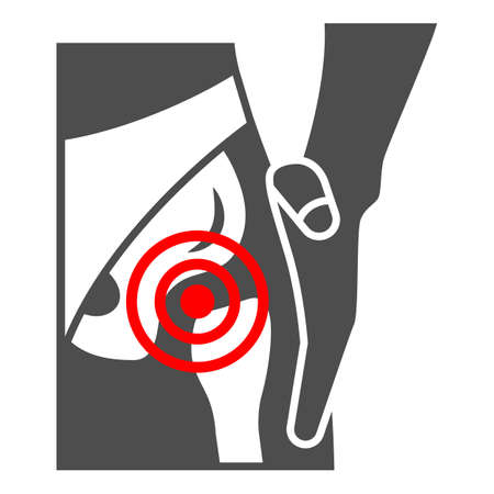 Femoral neck fracture solid icon, body pain concept, groin ache vector sign on white background, glyph style icon for mobile concept and web design. Vector graphics.