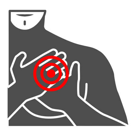 Chest pain in the region of heart solid icon, body pain concept, heart attack vector sign on white background, glyph style icon for mobile concept and web design. Vector graphics.