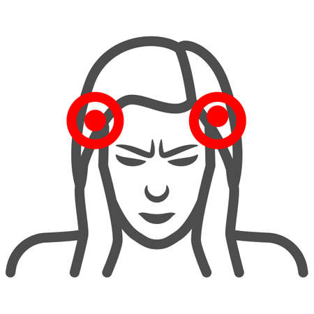 Woman temples hurt line icon, body pain concept, person has pain in the temples vector sign on white background, outline style icon for mobile concept and web design. Vector graphics.