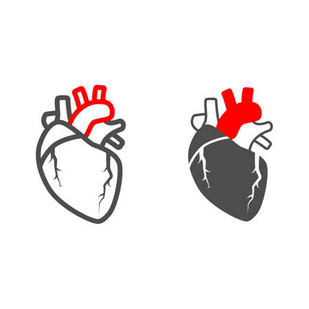 Heart valve problem line and solid icon, body pain concept, heart valves disease vector sign on white background, outline style icon for mobile concept and web design. Vector graphics. 矢量图像