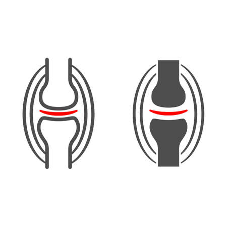 Joint pain line and solid icon, body pain concept, joint ache vector sign on white background, outline style icon for mobile concept and web design. Vector graphics.