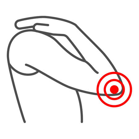 Elbow hurts thin line icon, body pain concept, elbow pain vector sign on white background, outline style icon for mobile concept and web design. Vector graphics.