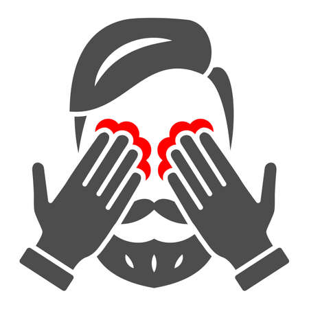 Man eyes hurt and itch solid icon, body pain concept, person has eye problems vector sign on white background, glyph style icon for mobile concept and web design. Vector graphics.
