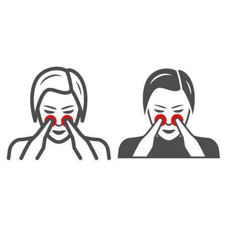 Woman nose disturbs line and solid icon, body pain concept, person has nasal pain vector sign on white background, outline style icon for mobile concept and web design. Vector graphics.