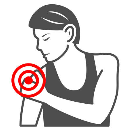 Woman shoulder hurts solid icon, body pain concept, shoulder pain vector sign on white background, glyph style icon for mobile concept and web design. Vector graphics.