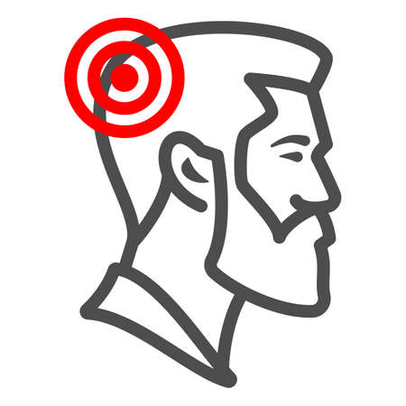 Man has headache line icon, body pain concept, person has migraine vector sign on white background, outline style icon for mobile concept and web design. Vector graphics.
