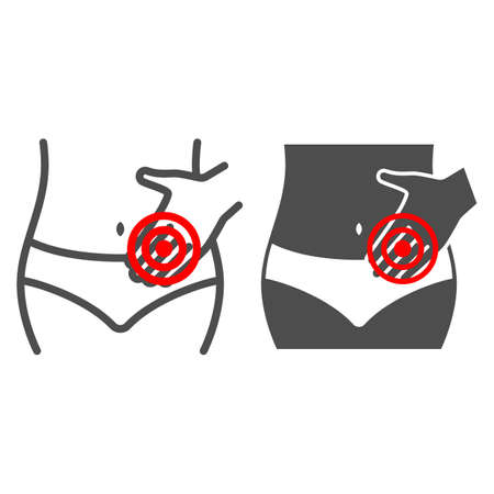 Female period pain line and solid icon, body pain concept, menstrual ache vector sign on white background, outline style icon for mobile concept and web design. Vector graphics. 矢量图像