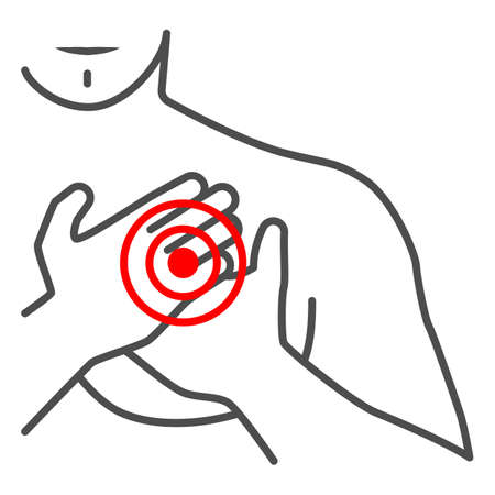Chest pain in the region of heart thin line icon, body pain concept, heart attack vector sign on white background, outline style icon for mobile concept and web design. Vector graphics. 矢量图像