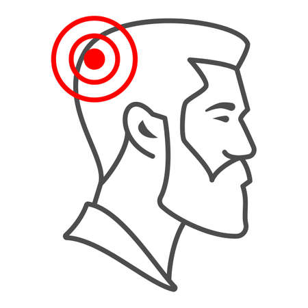 Man has headache thin line icon, body pain concept, person has migraine vector sign on white background, outline style icon for mobile concept and web design. Vector graphics.