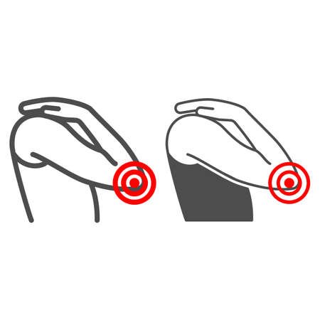 Elbow hurts line and solid icon, body pain concept, elbow pain vector sign on white background, outline style icon for mobile concept and web design. Vector graphics.