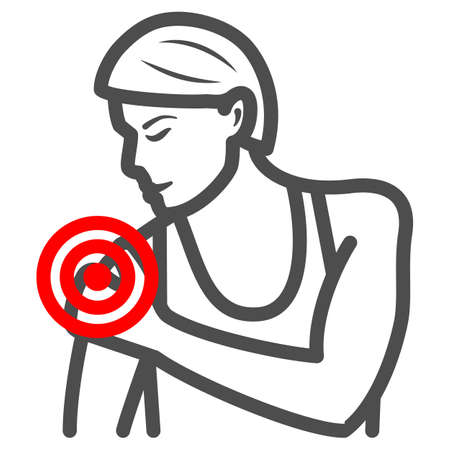 Woman shoulder hurts line icon, body pain concept, shoulder pain vector sign on white background, outline style icon for mobile concept and web design. Vector graphics.