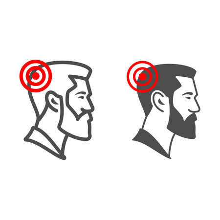 Man has headache line and solid icon, body pain concept, person has migraine vector sign on white background, outline style icon for mobile concept and web design. Vector graphics. 矢量图像