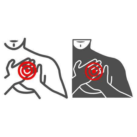 Chest pain in the region of heart line and solid icon, body pain concept, heart attack vector sign on white background, outline style icon for mobile concept and web design. Vector graphics. 矢量图像
