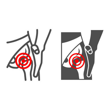 Femoral neck fracture line and solid icon, body pain concept, groin ache vector sign on white background, outline style icon for mobile concept and web design. Vector graphics. 矢量图像