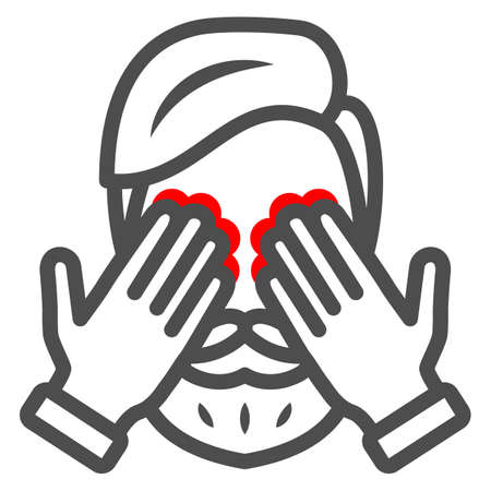 Man eyes hurt and itch line icon, body pain concept, person has eye problems vector sign on white background, outline style icon for mobile concept and web design. Vector graphics.