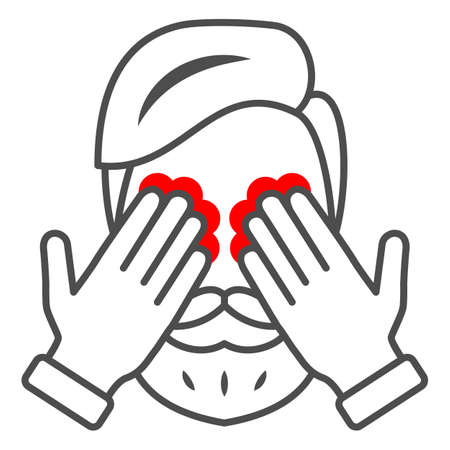 Man eyes hurt and itch thin line icon, body pain concept, person has eye problems vector sign on white background, outline style icon for mobile concept and web design. Vector graphics. 矢量图像