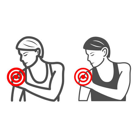 Woman shoulder hurts line and solid icon, body pain concept, shoulder pain vector sign on white background, outline style icon for mobile concept and web design. Vector graphics.