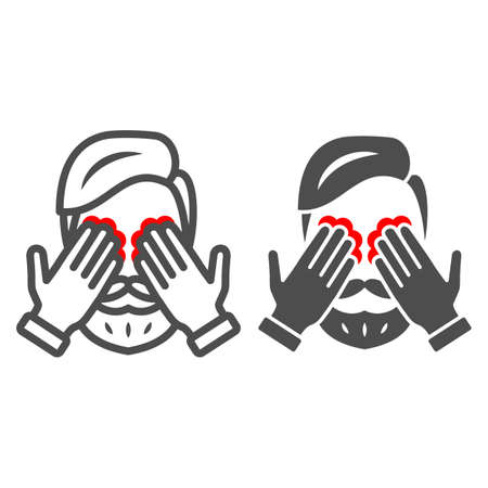 Man eyes hurt and itch line and solid icon, body pain concept, person has eye problems vector sign on white background, outline style icon for mobile concept and web design. Vector graphics. 矢量图像