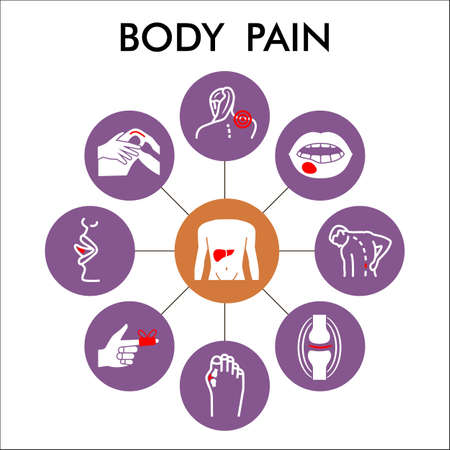 Modern body pain Infographic design template. human diseases inphographic visualization with nine steps circle design on purple background. Ache template for presentation.