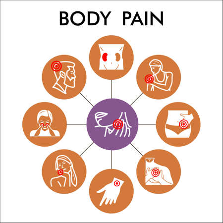 Modern body pain Infographic design template. human diseases inphographic visualization with nine steps circle design on brown background. Ache template for presentation. 矢量图像