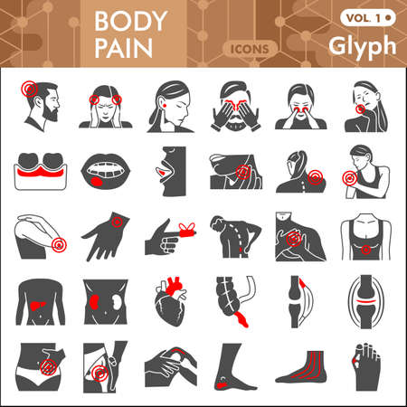 Body pain line icon set, human diseases symbols collection or sketches. Ache glyph linear style signs for web and app. Vector graphics isolated on white background.