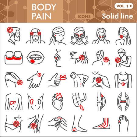 Body pain line icon set, human diseases symbols collection or sketches. Ache solid line linear style signs for web and app. Vector graphics isolated on white background.