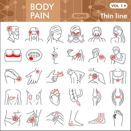 Body pain line icon set, human diseases symbols collection or sketches. Ache thin line linear style signs for web and app. Vector graphics isolated on white background.