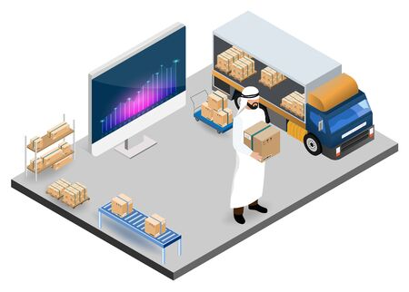 Modern isometric design concept of Warehouse Logistic with Arab Workers logistics, storehouse and goods on shelf. Vector illustration.