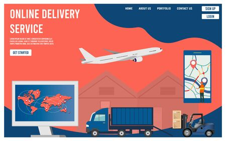 Modern flat design concept of Online delivery service with forklift, airplane, and truck  design for landing pages,  website and mobile website. Easy to edit and customize. Vector illustration