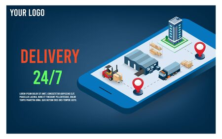 Online delivery service concept with City logistics, Warehouse, truck, forklift. vector illustration.