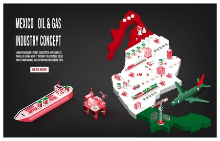 Modern isometric of Mexico oil and gas industry concept with Energy and Power on flag background.  Easy to edit and customize. Vector illustration