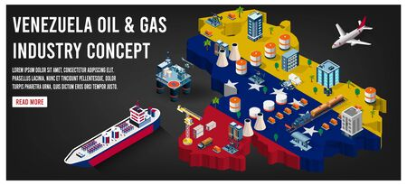 Modern isometric of Venezuela oil and gas industry concept with Offshore crude extraction, transportation,  refinery plant, fuel tanker ship rail tanks. Easy to edit and customize. Vector illustration Stock Illustratie