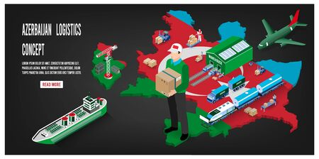 Modern isometric concept of Azerbaijan Global Logistics, Warehouse Logistics, Sea Freight Logistics.  Easy to edit and customize. Vector illustration Ilustração
