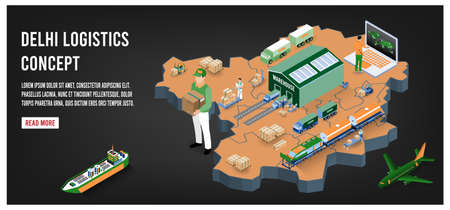 Modern isometric concept of Delhi Global Logistics, Warehouse Logistics, Sea Freight Logistics.  Easy to edit and customize. Vector illustration
