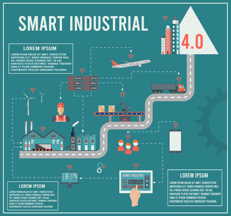 Smart industry 4.0 info graphic with Smart Manufacturing and Artificial intelligence concept. Vector illustration.