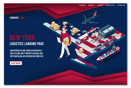 Modern isometric concept of New York Logistics Landing page with Global Logistics, Warehouse, Sea Freight. Easy to edit and customize. Vector illustration