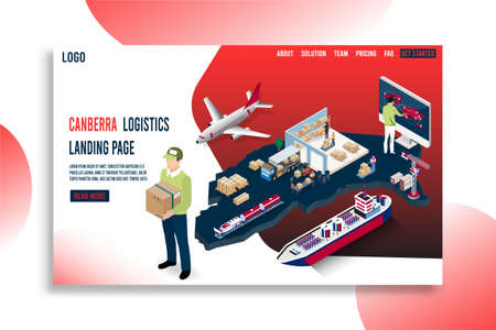 Modern isometric concept of Canberra Logistics Landing page with Global Logistics, Warehouse, Sea Freight.  Easy to edit and customize. Vector illustration Illustration