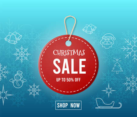 Red Christmas sale tags with the participation of Santa Claus, snowman,snowflake, seasonal elements and discount text for posters, 