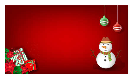 Red Christmas Decorative Background with realistic gifts box, snowman and glitter gold for poster, greeting cards, headers, website. Vector illustration