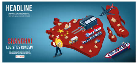 Modern isometric concept of Shanghai Logistics Landing page with Global Logistics, Warehouse, Sea Freight. Easy to edit and customize. Vector illustration EPS 10 矢量图像