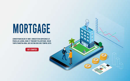 Flat tiny building purchase debt person's, House Loan, Rent, Real Estate Agent and Mortgage concept. Flat Isometric Vector Illustration  イラスト・ベクター素材