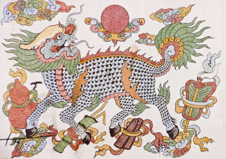 kilin mural in chinese painting style Editorial